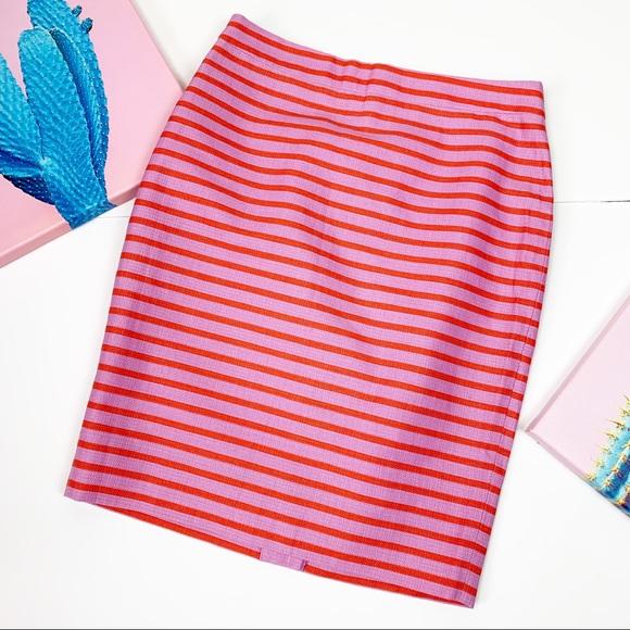 J. Crew Dresses & Skirts - J. Crew Pink Striped Basketweave Pencil Skirt 0